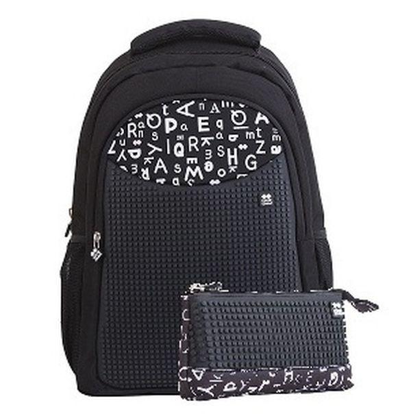 e728e6c36a Školský pixelový batoh PXB-16 čierna abeceda s peračníkom