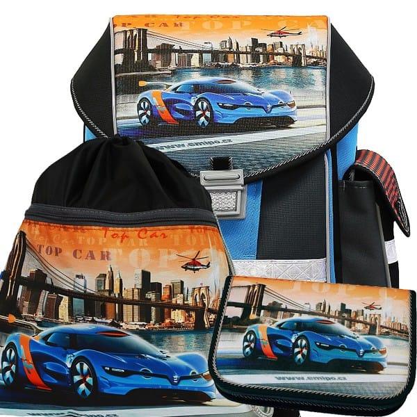 a85ab3b2a4 Školská taška Emipo Ergo One Top Car 3dielny set a dosky zdarma ...
